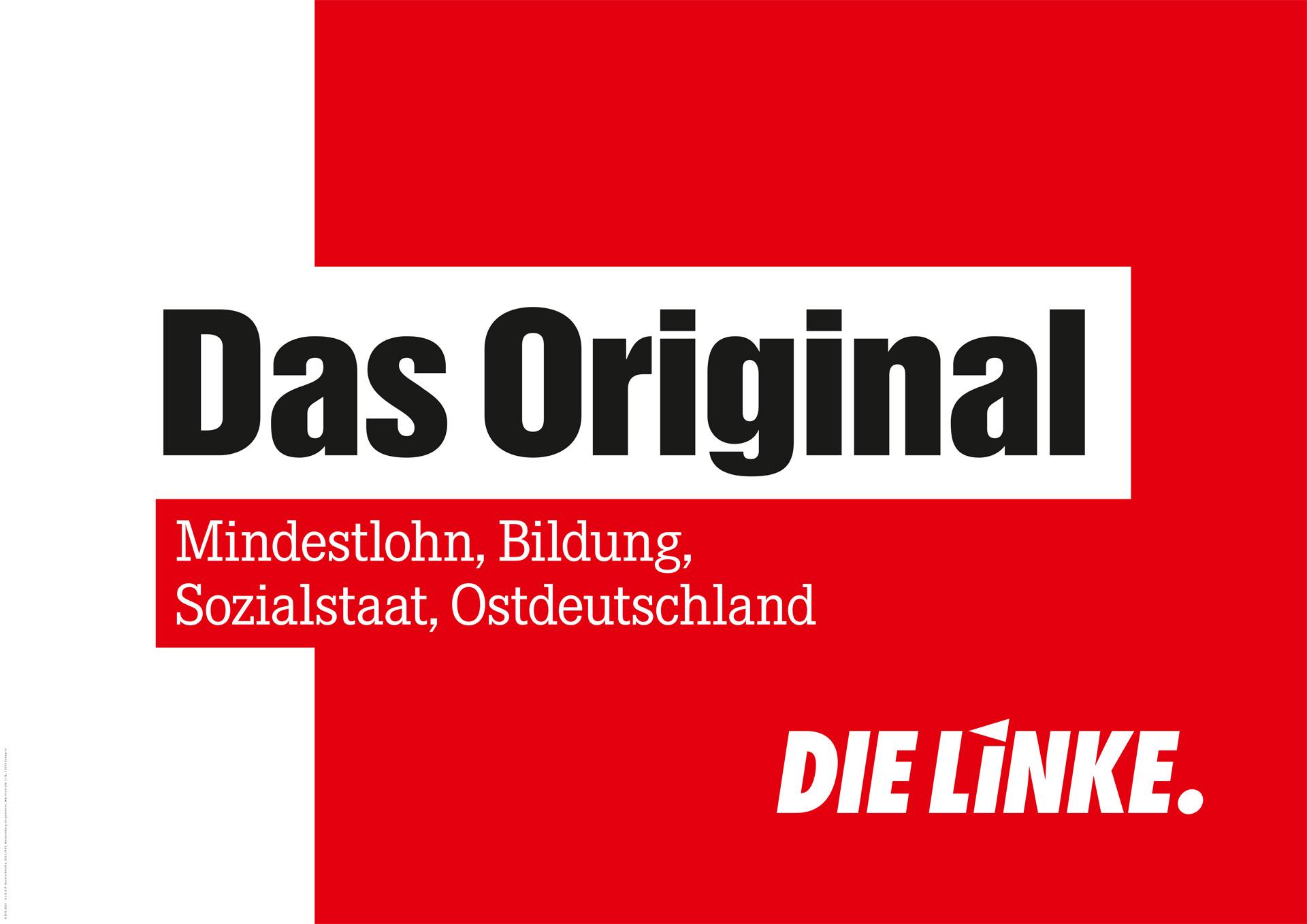 Das Original: Mindestlohn, Bildung, Sozialstaat, Ostdeutschland. DIE LINKE